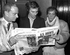 Lawyer Roy Cohn with Studio 54 co-owners, Ian Schrager & Steve Rubell, after the nightclub was raided in December, 1978.