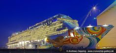 Norwegian Getaway in the night - November 2013 - - Cruise Ships from Papenburg / Germany Photo by Andreas Depping  cruiseship-gallery.de