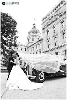 Indiana Statehouse Wedding:Indianapolis, IN  My favorite wedding photo with the vintage Rolls Royce car! #bbpphotography