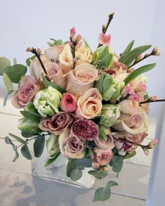 The Flower Magician: Vintage Bridal Bouquet to tone with Pewter Bridesmaid's Gowns