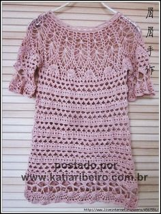 Katia Ribeiro Moda & Decoração Handmade: Blusa em crochê com gráfico