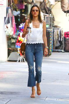 Best celeb street style denim: Alessandra Ambrosio looks effortlessly chic in cropped flare denim pants.