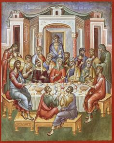 This icon is either the wedding at Cana or the Mystical Supper. Byzantine Icons, Byzantine Art, Religious Icons, Religious Art, Life Of Christ, Jesus Christ, Renaissance Era, Last Supper, Eucharist