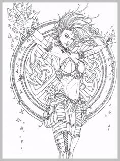 Ink Pen Drawings Girl Coloring Pages For Grown Ups Adult Sheets Books Comics Girls Colorful Pictures