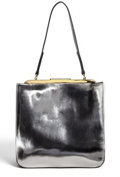 Metallic Leather Frame Bag - Lyst