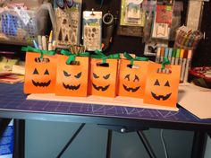 I made these super cute and easy treat bags with the Lawn Fawn Goodie Bag die, cut faces out of black paper and some green ribbon for the topper! Fall Paper Crafts, Halloween Paper Crafts, Holiday Crafts, Halloween Goodie Bags, Halloween Treats, Fall Halloween, Lawn Fawn Stamps, Treat Box, Green Ribbon