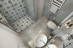 Small Apartment Under 30 Square Metre – One Light. The bathroom doesn't have a particularly spacious floor plan either. It's simple materials for the primary surfaces allow plenty of room to explore bold tile patterns. Bad Inspiration, Bathroom Inspiration, Apartment Interior, Apartment Design, Bathroom Layout, Small Bathroom, Bathroom Ideas, Ideas Baños, Tiny Apartments