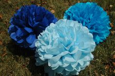 Baby boy shower decoration- Tissue paper pom poms - Baby Blue - 12 pcs.  party pom package - It's a boy. $35.00, via Etsy.