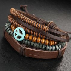 Boho Multi-layer Unisex Leather Bracelet (5 Styles; Beach, Eye, Beads, Feather & Peace)