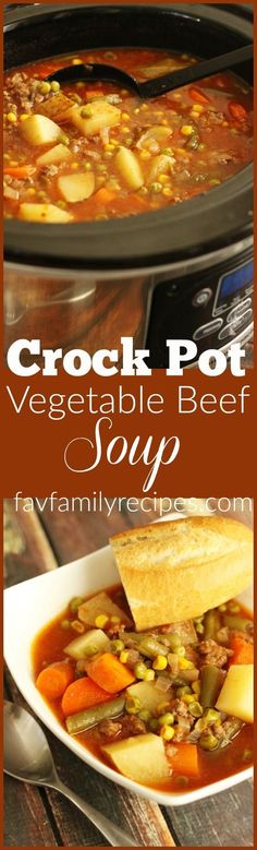 The easiest soup you will ever make. This vegetable beef soup is one of … The easiest soup you will ever make. This vegetable beef soup is one of my favorite meals to do in the Crock Pot because it's just SO easy! Crock Pot Soup, Crockpot Dishes, Crock Pot Slow Cooker, Crock Pot Cooking, Slow Cooker Recipes, Crockpot Recipes, Soup Recipes, Cooking Recipes, Gastronomia