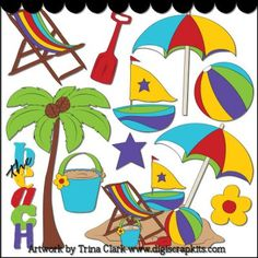 The Beach 1 Clip Art - Original Artwork by Trina Clark