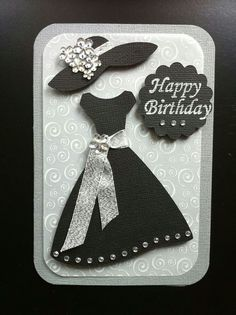 Blingy Birthday dress Card and Cricut Forever Young Birthday Cards For Women, Handmade Birthday Cards, Happy Birthday Cards, Card Birthday, Diy Birthday, Handmade Greetings, Greeting Cards Handmade, Cricut Cards, Stampin Up Cards
