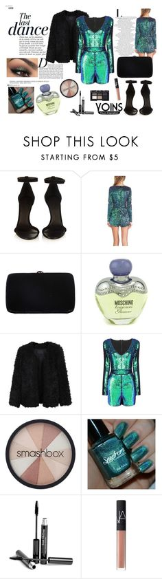 """""""Green Playsuit with Sequin Detail outfit"""" by natasa-topalovic ❤ liked on Polyvore featuring Isabel Marant, Sergio Rossi, Anja, Moschino, LE3NO, Smashbox, Trish McEvoy and NARS Cosmetics"""