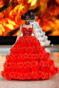 This is a modern-day version of a crinoline.  It is from Alexander McQueen's Spring/Summer  collection in 2013. It features red flowers around the skirt and a black cage on the bodice.
