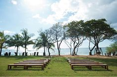 This casual seating option is great for a wedding ceremony held in a large open space such as a park, beach or field.