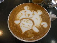Bear and Boy Coffee Art Design // Creative 3D Coffee Latte Art Pictures, Images & Designs