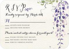 wedding paper divas wedding response card wisteria wonder