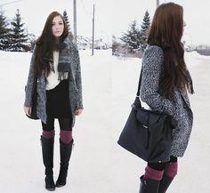 6 Ks Grey Jacket, Yubs Shop Textured Skirt, Yubs Shop White Faux Fur Sweater, Romwe Slouchy Black Bag, Lu Lu*S Black Boots, Tabbi Socks Mauve Knee Socks