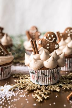 Gingerbread Cupcakes with Cinnamon Browned Butter Buttercream | halfbakedharvest.com #gingerbread #cupcakes #dessert #holiday #easyrecipes #christmas