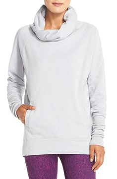 Free shipping and returns on Zella 'Inner Peace' Cotton Blend Pullover at Nordstrom.com. A rolled cowl neck allows for customized protection atop this super-comfy, cotton-blend sweatshirt detailed with sporty raglan sleeves, a kangaroo pocket and long ribbed cuffs for a slouchy look.