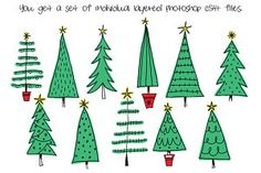 Hand Drawn Christmas Trees Clipart Affiliate Clipart Trees Photoshop Files Happy New Year Christmas Tree Clipart, Christmas Doodles, Christmas Tree Themes, Christmas Love, Christmas Pictures, Xmas Tree, Christmas Holidays, Christmas Crafts, Watercolor Christmas Cards