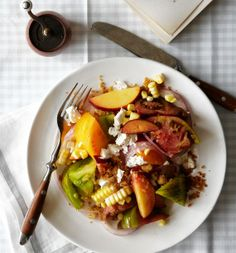 tomato and peach salad with corn and feta.