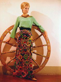 Female Model Posing in Colorful Pucci Maxi Skirt and Blouse - 1963 Firenze   #TuscanyAgriturismoGiratola