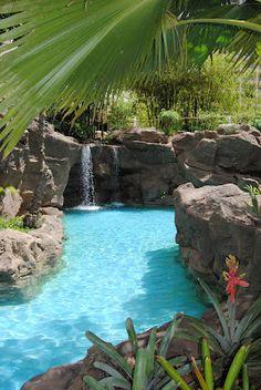 Hyatt Hotel pools and waterfalls