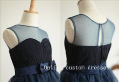 Navy Blue Tulle Chiffon Flower Girl Dress by OnlineCustomDresses www.etsy.com