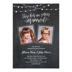 Old Photos Engagement Invitation - Chalk Lights - tap/click to get yours right now!  #engagement #party #engagement #invitation #card Couples Wedding Shower Invitations, Invitation Baby Shower, Rehearsal Dinner Invitations, Engagement Party Invitations, Wedding Rehearsal, Wedding Invitation Cards, Rehearsal Dinners, Wedding Couples, Wedding Day
