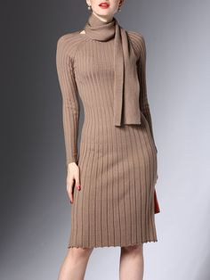 f925979aa81 Shop Sweater Dresses - Camel Sheath Elegant Solid Sweater Dress online.  Discover unique designers fashion at StyleWe.com.