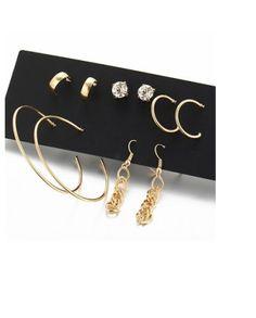 Set of 6 Gold Earrings
