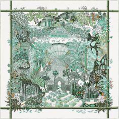 Carré 90 x 90 cm Hermès   Jardins d'Hiver by Annie Faivre AW 2015 reissue CW 24 blanc/vert/ebene