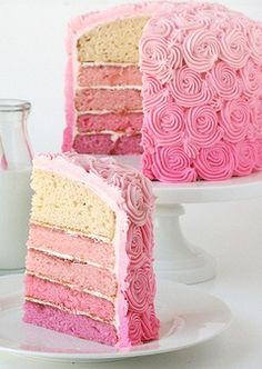 pink cake...like the roselike decorations