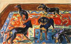 Edvard Munch / Five puppies on the carpet 1919-21