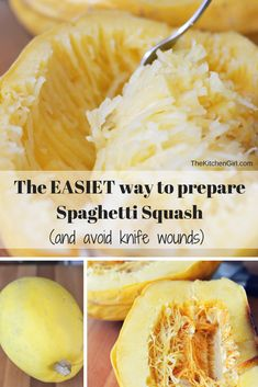 How to Prepare Spaghetti Squash (and AVOID knife wounds). It's very dangerous to cut when it's raw, so check this out!   www.thekitchengirl.com #arugulapesto recipe included