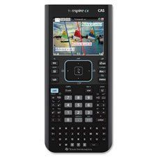 """Graphing Calculator, Color, CAS,3-3/8""""x7-1/4""""x5/8"""", Black, Sold as 2 Each. Handheld graphing calculator lets you stay mobile, continue learning with a color screen, thin design and rechargeable battery. With the built-in Computer Algebra System, the TI-Nspire CX CAS Color Graphing Calculator also lets you explore higher-level math concepts including symbolic algebra and symbolic calculus as well as standard numeric calculations. View exact values - in the form of variables such as x and y..."""