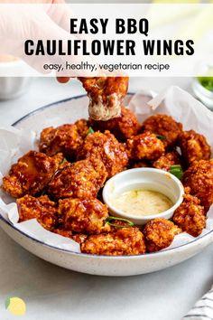 Vegan Cauliflower Wings, Grilled Cauliflower, Cauliflower Recipes, Califlower Wings, Vegetarian Recipes, Cooking Recipes, Healthy Recipes, Pescatarian Recipes, Free Recipes