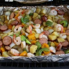 Grilled Shrimp and Sausage with Peppers and Onions