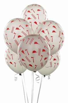 Amazon.com : Silver with Red Firefighter Symbols Balloons (6) : Childrens Party Balloons : Toys & Games