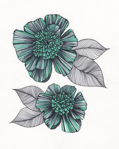 "Turquoise & Black Flower Art Drawing 8x10"" Print Unframed. via Etsy. By Me Art Design"