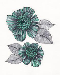 "Turquoise & Black Flower Art Drawing 8x10"" Print Unframed. via Etsy. By Me Art Design"