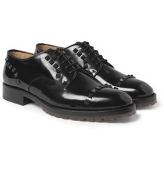 Valentino Studded High-Shine Leather Derby Shoes | MR PORTER