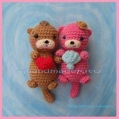 Otter Couple Floating in Love Amigurumi Crochet Pattern by HandmadeKitty by HandmadeKitty=^_^=, via Flickr