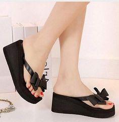 27de8419c Women s Bow-Tie Sandals. Heeled Flip FlopsPlatform ...