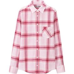 UNIQLO Women Flannel Long Sleeve Shirt (40 CAD) ❤ liked on Polyvore featuring tops, shirts, long sleeve shirts, pink checkered shirt, pink top, pink long sleeve shirt and shirts & tops