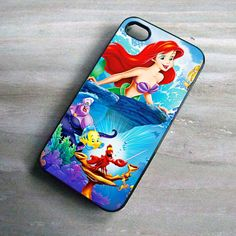 Disney Princess iPhone Case Ariel The Little Mermaid, Print On Hard Cover, iPhone 4 Case, iPhone 4S Case, iPhone 5 Case