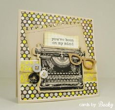 HYCCT1331C Typewriter My Favorite Things MyFavoriteThings MFT Stamp Die Die-Namics (Card Front) Blog: www.CardsByBecky.blogspot.com