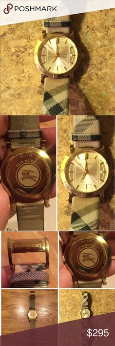 100% authentic burberry watch small mark on outside Burberry box. no marks on brown leather-like inside burberry box. comes with both boxes and both booklets.  band a little darker from rubbing against jeans. see pictures. great condition!  no scratches on the face. arms glow in the dark with a lime green color. see last picture 😍 Burberry Accessories Watches