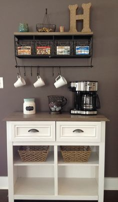 Love my latest Pinterest project - coffee station -- I NEED a house with space for this!!!!